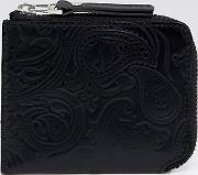 Embossed Leather Paisley Billfold Wallet
