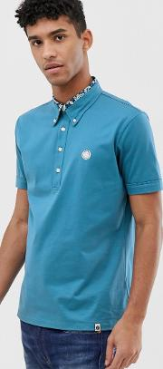 Mercerised Cotton Polo With Floral Insert