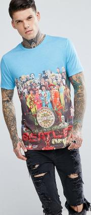 X The Beatles Lonely Hearts Club Crew Neck  Shirt In Blue