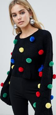 Christmas Jumper With Pom Poms