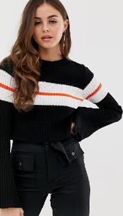 Cropped Jumper With Flared Sleeve And Stripe Detail