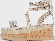 Espadrille Flatform Sandals With Ankle Ties
