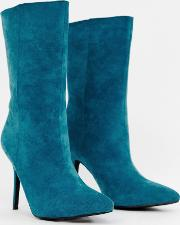 Faux Suede High Heeled Ankle Boot