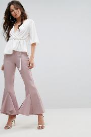 flared frill trousers