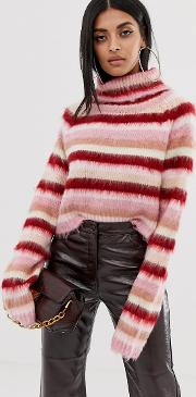 Fluffy Jumper With Roll Neck