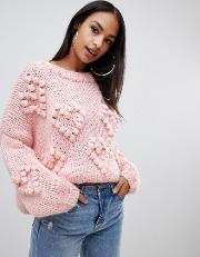 heart detail jumper in pink