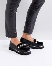 Pearl Embellished Faux Fur Loafers