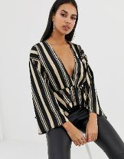 Plunge Front Blouse With Layered Peplum Ruffle