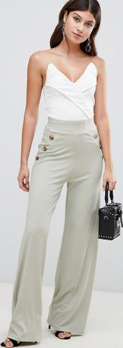 Ribbed Button Detail Trousers