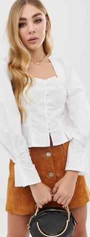 Ruched Shoulder Button Down Long Sleeve Blouse