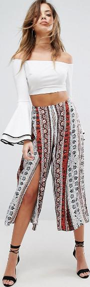 Split Front Printed Trousers
