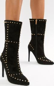studded calf boots in black