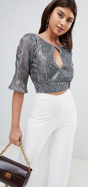 Tie Back Pleated Glitter Crop Top