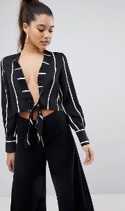 Tie Front Stripe Cropped Blouse