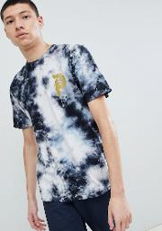 bleach wash t shirt with large back print  black