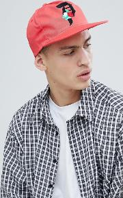 snapback cap with rose logo in coral
