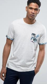 t shirt with hawaiian floral pocket