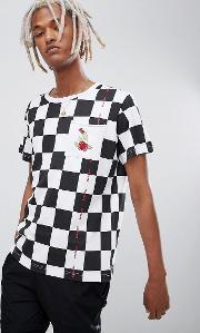 checkerboard t shirt with rose print  white