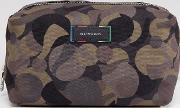 Canvas And Leather Trim Camo Wash Bag In Khaki