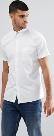 Casual Fit Short Sleeve Pocket Shirt In White