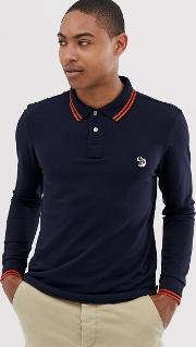 Long Sleeve Slim Fit Zebra Tipped Polo