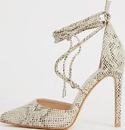 Aries Natural Snake Ankle Tie Heeled Shoes