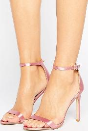 avril pink satin barely there heeled sandals