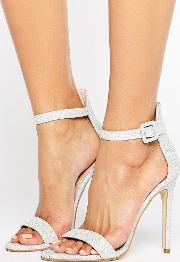 Crystal Silver Heeled Sandals