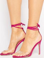 leo clear strap tie up heeled sandals