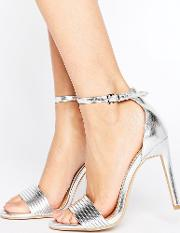 lily silver barely there heeled sandals