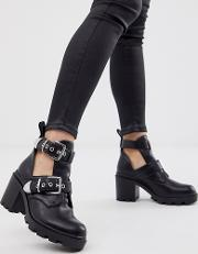 Maia Buckle Detail Cut Out Ankle Boots