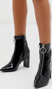 Thrill Patent Block Heeled Ankle Boots