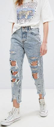 bleached super distressed mom jeans