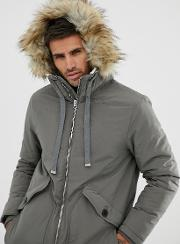 Borg Lined Parka With Faux Fur Trim Hood