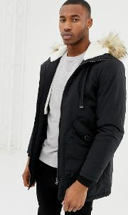 Borg Lined Parka With Fur Trim Hood