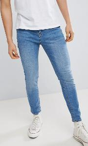 carrot fit jeans in blue wash