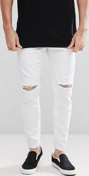 Carrot Fit Jeans With Rips In White