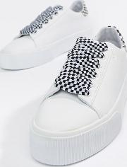 check lace up flatform trainer  white