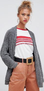 chenille tie waist cardi with pockets in grey