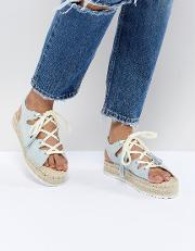 lace up espadrille in blue
