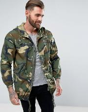 lightweight parka jacket in camo