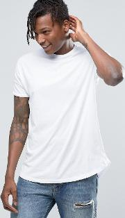 longline t shirt  white with curved hem