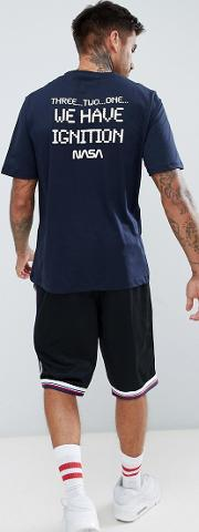 nasa t shirt in navy with print on back