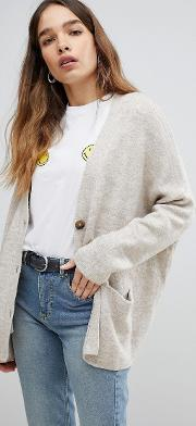 oversized button detail cardigan