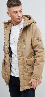 parka puffer hooded jacket in tan