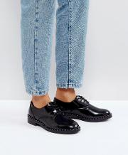 patent and stud detail shoe
