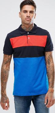 Short Sleeve Polo With Contrast Stripe In Blue