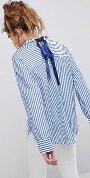 Stripe Woven Shirt With Ribbon Tie Back
