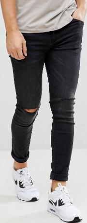 Super Skinny Jeans With Knee Rips  Black