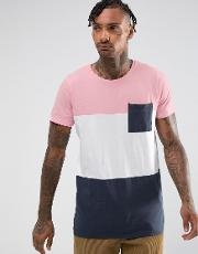 t shirt with colour block in pink and navy